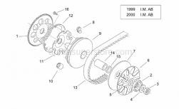 Engine - Variator I ('99-2001 I.M. Ab) - Aprilia - Low nut m12x1,25
