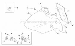 Frame - Front Body V - Aprilia - Front mudguard lockup, grey