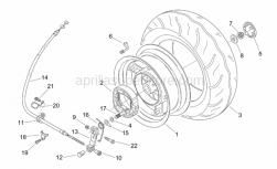 Frame - Rear Wheel - Aprilia - Rear brake cable