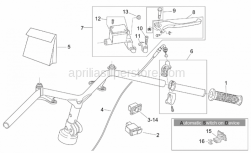 Frame - Rh Controls - Aprilia - Handgrip pair, red