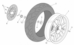 Frame - Rear Wheel - Aprilia - Rear wheel, grey