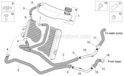 Frame - Cooling System - Aprilia - Water cooler hose union