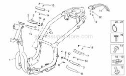 Frame - Frame - Aprilia - Rear footrest, LH