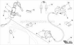 Frame - Lock Hardware Kit - Aprilia - Aprilia key w/out transpo.