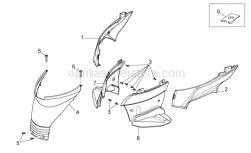 Frame - Central Body Iv - Aprilia - RH rear footrest, grey