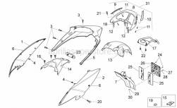 Frame - Rear Body - Aprilia - Rear mudguard, grey