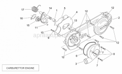 Engine - Transmission Cover (Carburettor) - Aprilia - Kick shaft assy