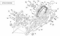 Engine - Crank-Case (Ditech) - Aprilia - Screw w/ flange