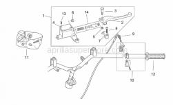 Frame - Rh Controls - Aprilia - Handgrip pair, grey