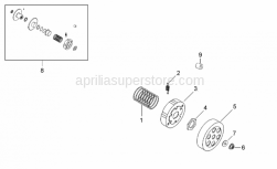 Engine - Clutch II - Aprilia - Brake shoes return spring