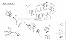 Frame - Rear Lights Usa - Aprilia - LH front/RH rear turn indic.