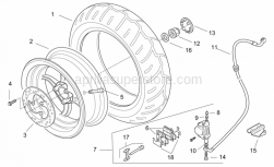 Frame - Rear Wheel - Disc Brake - Aprilia - Rear brake caliper, red D28