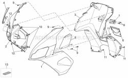 Frame - Front Body III - Aprilia - RH Front shield, silver