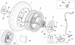 Frame - Rear Wheel - Disc Brake - Aprilia - Cappellotto ferma dado
