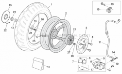 Frame - Rear Wheel - Disc Brake - Aprilia - Washer