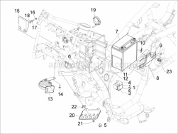 Electrical System - Remote Control Switches - Battery - Horn - Aprilia - Immobilizer antenna