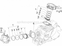 Engine - Cylinder-Piston-Wrist Pin Unit - Aprilia - Piston assy cat.3