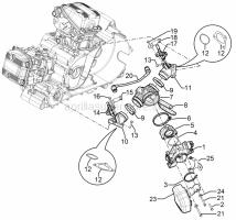 Engine - Throttle Body - Injector - Union Pipe - Aprilia - Screw w/ flange M6x25