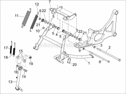 Frame - Plastic Parts - Coachwork - Stand/S - Aprilia - SPRING B125