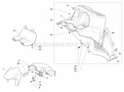 Frame - Plastic Parts - Coachwork - Wheel Huosing - Mudguard - Aprilia - Spring plate