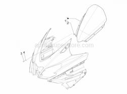 Frame - Plastic Parts - Coachwork - Windshield - Glass - Aprilia - WINDSHIELD - ASSY