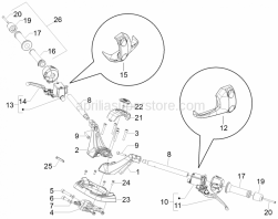 Handlebars/Steering - Handlebars - Master Cil. - Aprilia - Screw w/ flange M6x16