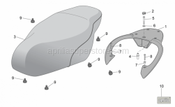 Frame - Seat - Carrier - Aprilia - Name plate Aprilia 30x15