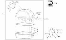 Frame - Top Box - Aprilia - Phillips screw, SWP M5x20