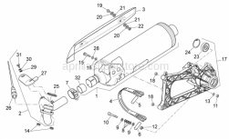 Frame - Exhaust Unit - Aprilia - Screw w/ flange
