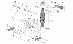 Frame - Connecting Rod And Shock Absorber - Aprilia - T bush *