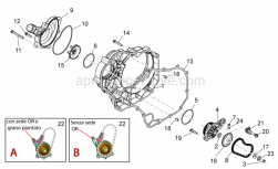 ENGINE - Water Pump II - Aprilia - Clutch side cover antracite