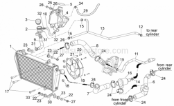 28 - Cooling System - Aprilia - Thermostat-cooler pipe