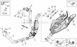 28 - Exhaust Unit - Aprilia - Front. Exhaust pipe