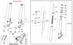 28 - Front Fork - Aprilia - Hub+RH fork leg