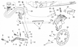 28 - Rear Brake System - Aprilia - Screw w/ flange