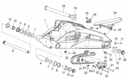 28 - Swing Arm - Aprilia - Wheel spindle nut M25x1,5