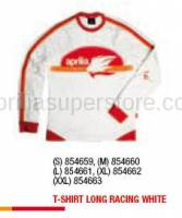 Apparel - Shirts - Aprilia - T-SHIRT LONG RACING WHITE - M -XL
