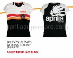 Apparel - Shirts - Aprilia - T-SHIRT RACING LADY BLACK - XS -S