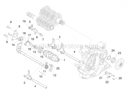 Engine - Gear Box / Selector / Shift Cam - Aprilia - Fork output