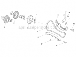 Engine - Front Cylinder Timing System - Aprilia - Chain stretching drive