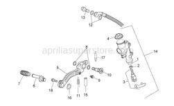 Frame - Rear Master Cylinder - Aprilia - Silent block, spring