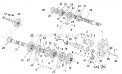 OEM Engine Parts Diagrams - Gear Box - Aprilia - Gear shaft+spring cpl.