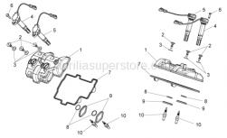 OEM Engine Parts Diagrams - Valves Cover - Aprilia - HT coil short cable