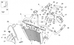 OEM Frame Parts Diagrams - Cooling System - Aprilia - Thermostat-engine pipe