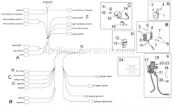 OEM Frame Parts Diagrams - Electrical System I - Aprilia - Main switch - steering lock