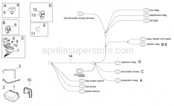 OEM Frame Parts Diagrams - Electrical System II - Aprilia - Relay battery wiring