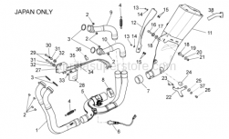 OEM Frame Parts Diagrams - Exhaust Pipe II - Aprilia - Front. Exhaust pipe