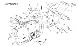 OEM Frame Parts Diagrams - Exhaust Pipe II - Aprilia - LH rear exhaust pipe