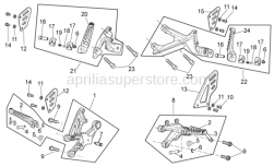 OEM Frame Parts Diagrams - Foot Rests - Aprilia - RH front footrest bracket