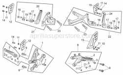 OEM Frame Parts Diagrams - Foot Rests - Aprilia - Rear footrest, RH cpl